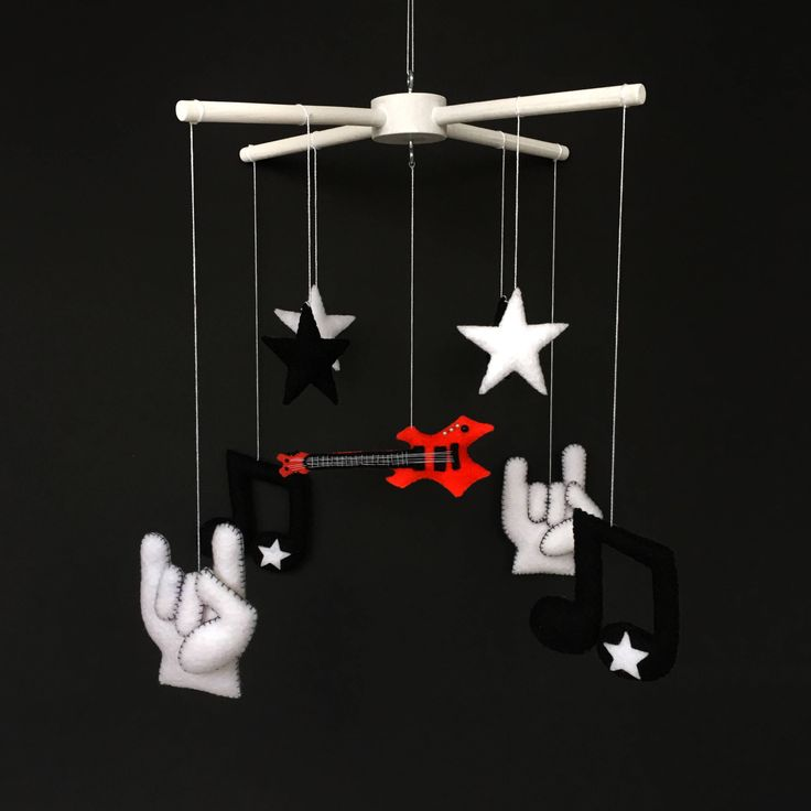 Black Mobile - Baby Mobiles Hanging - Baby Boy Mobile - Electric Guitar - Crib Mobile - Felt Guitar - Music Mobile - Cot Mobile - FeltMobile by BimbaUA on Etsy https://www.etsy.com/listing/572947507/black-mobile-baby-mobiles-hanging-baby