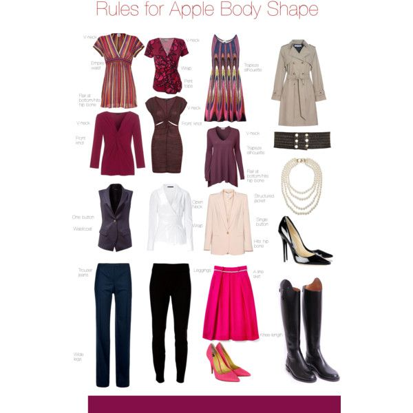 """""""Rules for Apple Body Shape"""" by pinkrubbersoul on Polyvore"""