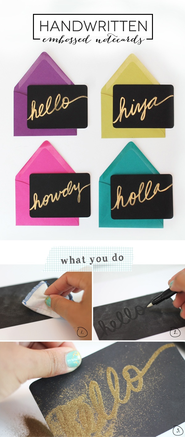 Handwritten Embossed Notecards | tutorial by Amber at Damask Love: http://www.damasklove.com/diy-gold-embossed-handwritten-notecards/