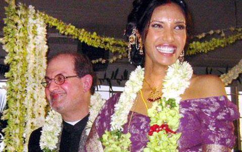 Salman Rushdie and Padma Lakshmi at their 2004 wedding in New York