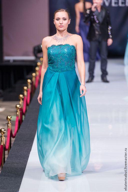 Купить платье из кружевного полотна и шифона - тёмно-бирюзовый, однотонный, платье, Платье нарядное