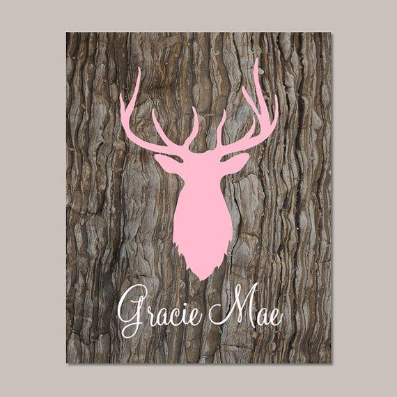 Baby Girl Nursery Decor Deer Antler Rustic by LovelyFaceDesigns