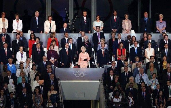 Queen Elizabeth II, Prince Philip, John Major, Tony Blair, Cherie Blair, Princess Anne, Ban Ki Moon, Jacques Rogge, Prince William,  Catherine Duchess of Cambridge, Prince Harry, David Cameron, Samantha Cameron, King Constantine of Greece and wife Anne-Ma