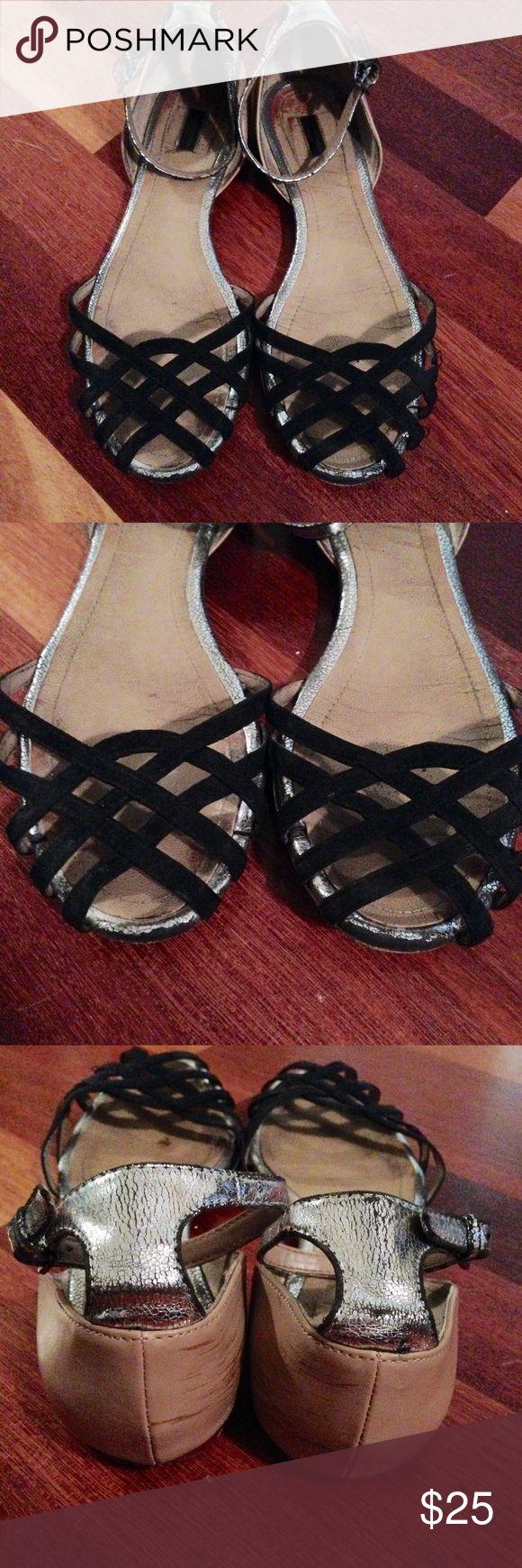 ZARA Black and Silver flat sandals Zara Black and Silver flat Sandals with ankle fastening. Zara Shoes Sandals