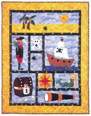 Pirate Quilt, Custom Boy Quilt, Baby Quilt, Crib Bedding, Toddler, Twin, Ships, Treasure Chest, Mermaid, Ahoy Matey, Baby Bedding, Children