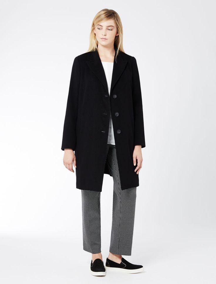 Marina Rinaldi NINFA nero: Cappotto in drap di pura lana.