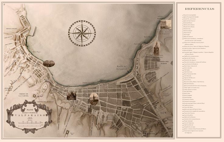 Valparaiso 1915´s watercolor and digital intervention by Francisco Sad