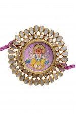 Tribebyamrapali-Silver Gold Plated Crystal Hand Painted Ganesha Rakhi Cum Pendant