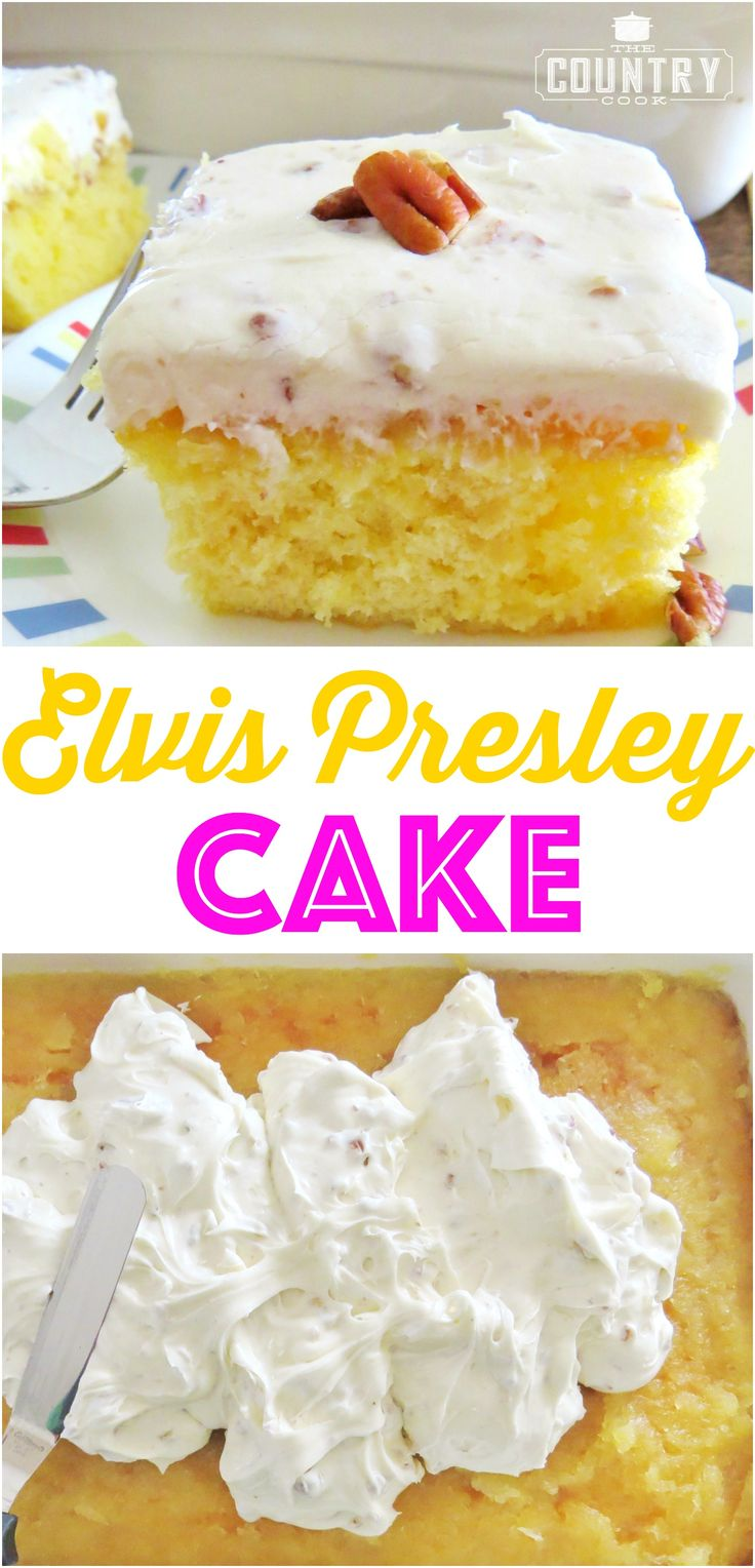 This Elvis Presley Cake starts with a boxed cake mix and topped with an amazing pineapple glaze and the most delicious homemade pecan frosting!