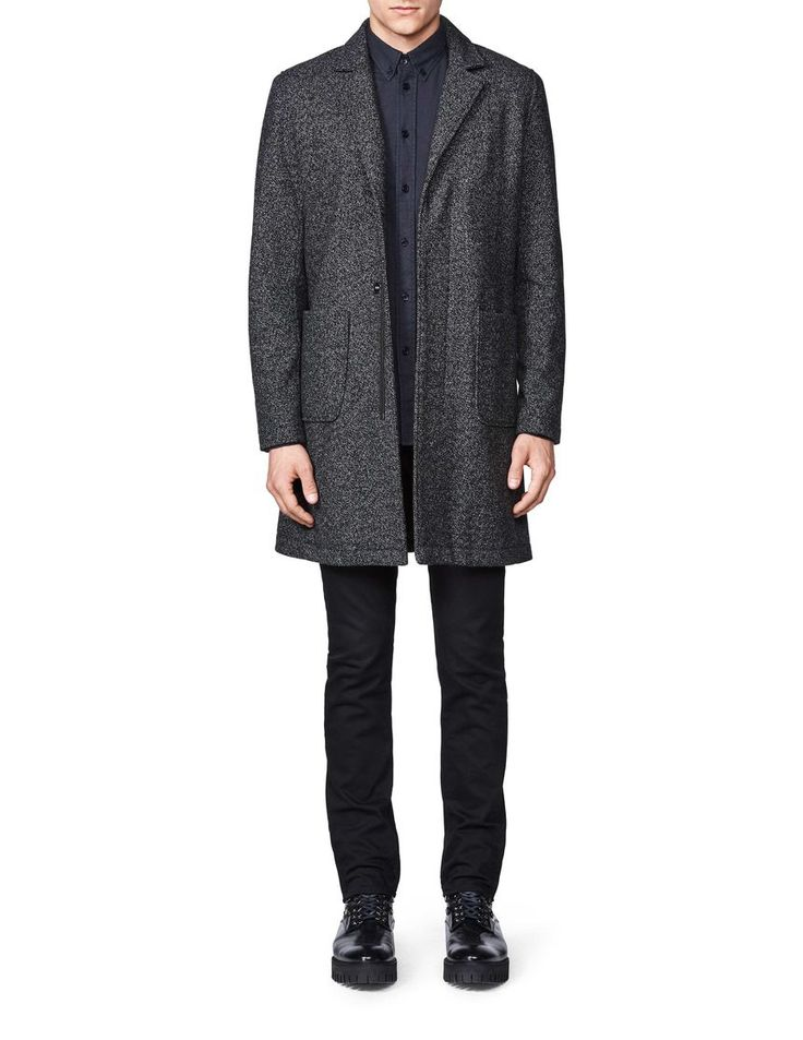 Le bon coat-Men's coat in wool-blend. Features concealed zip fastening and press buttons at placket. Patch pockets and single back slit. Fully lined. Slim fit. Above-knee length.