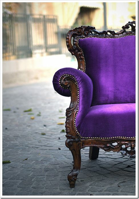 Looks good next to our purple Gothic chair and ottoman set!: Velvet Chairs, Shades Of Purple, Purple Velvet, Color, Purplevelvet, Antiques Chairs, Purple Chairs, House, Old Chairs