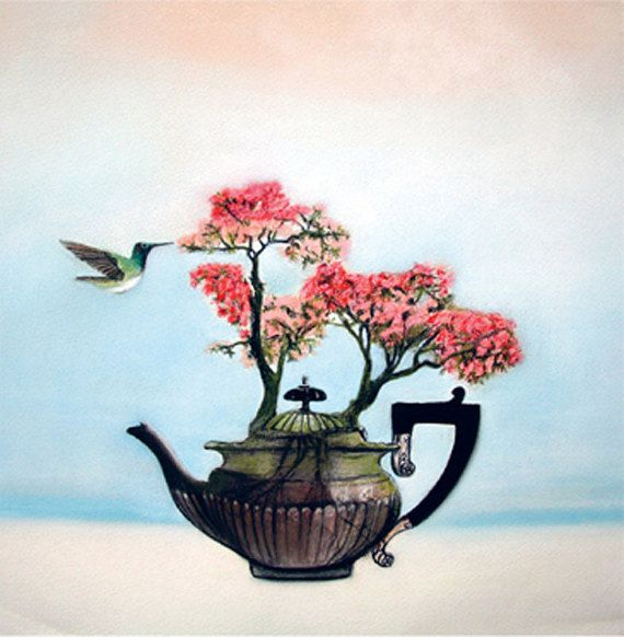 birthday card  Azalea teapot flowers square by KatkasArtStudio