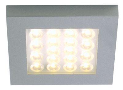 Möbelaufbauleuchte ER-LED 1,2 Watt quadratisch, WW, 3000 K, 55 Lumen, 24 Volt DC, Abstrahlwinkel 25°, Edelstahloptik, Anschlußleitung 2500 mm mit MINI-AMP Stecker, inkl. LED 18 x 67mW, L x B x H = 67 x 67 x 8 mm, exklusive Schaltnetzteil