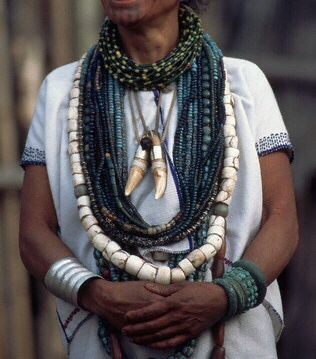 Apatani Tribe, India. Trade beads, tribal jewelry, ethnic beads, traditional Indian ornamentation.
