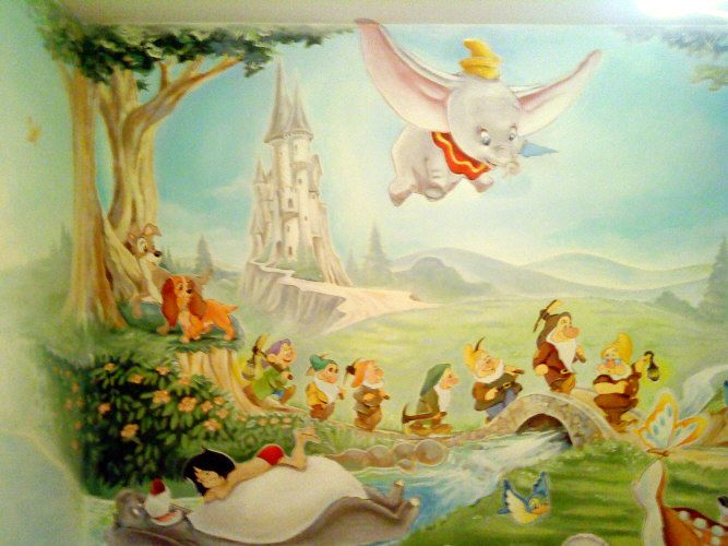 25 best ideas about disney mural on pinterest disney for Disney wall mural uk