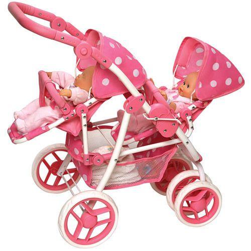 Baby Double Doll Stroller Pink Pretend Play Toys Pram Mommy Carrier Girl New #BassinetBabyDoubleDollStrollerPinkToyPramMommy