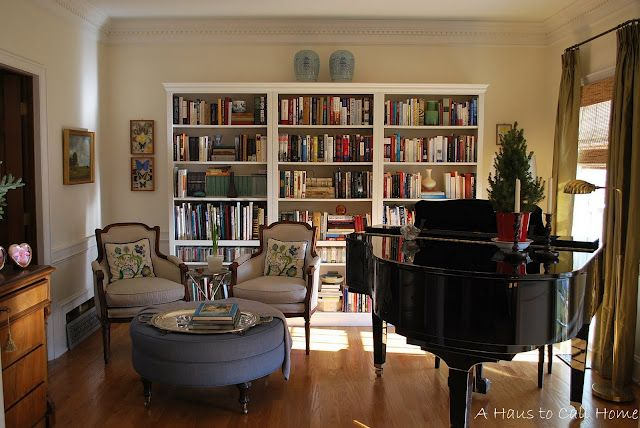 Needs some styling but I like having the library with the piano and a place to read