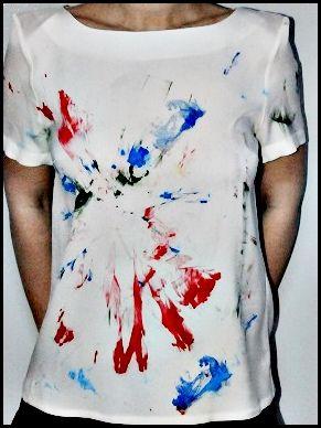 Bluza matase naturala pictata manual atat pe fata, cat si pe spate