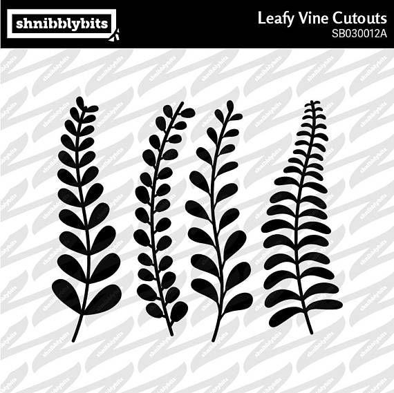 8 Leafy Vine Cutouts  SVG DXF PNG Digital Download Cut