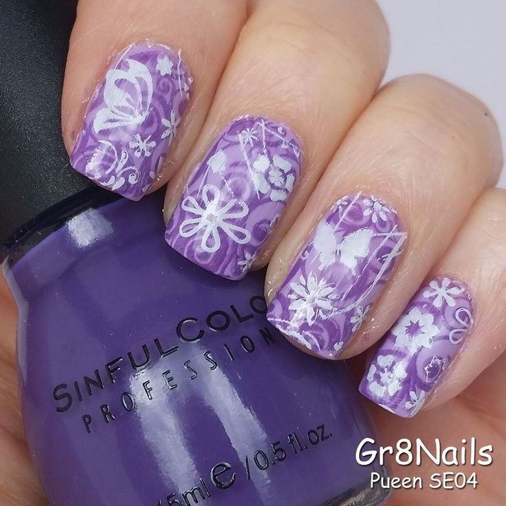 Spring nail art with Pueen nail stamping plates
