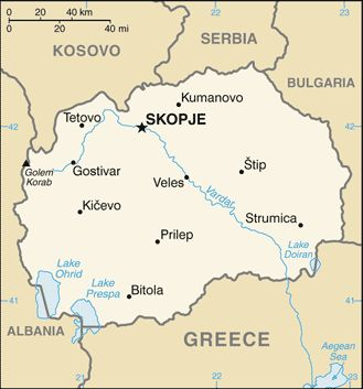 Map of the Republic of Macedonia.