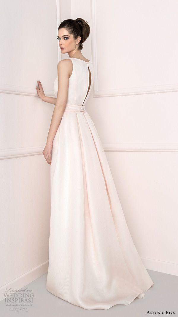 antonio riva 2016 bridal bateau neckline clean chic a line wedding dress barbara back view
