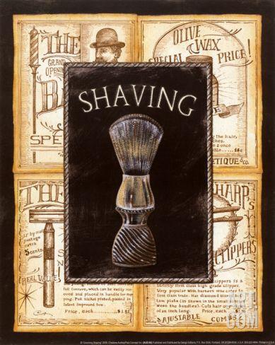 Grooming Shaving by Charlene Audrey. Print from Art.com, $6.99