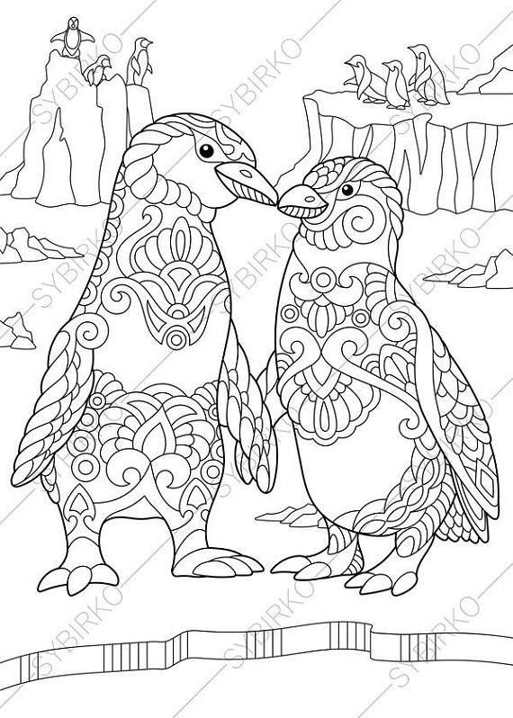 Coloring Pages For Adults Digital Coloring Pages Penguins Etsy In 2020 Penguin Coloring Pages Unicorn Coloring Pages Coloring Pages