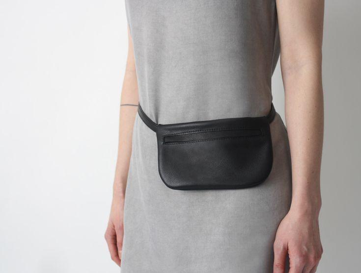 Belt Bag Black Leather, Flat Bum Bag, Hip Bag, Fanny Pack, Festival Bag, by alexbender on Etsy https://www.etsy.com/nz/listing/224500524/belt-bag-black-leather-flat-bum-bag-hip