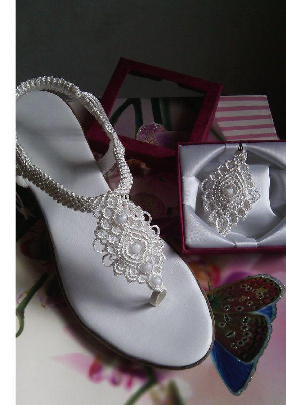 Zapatos de Boda de Mujer, Macrame y Sandalias de Cuero, Sandalias de Bohemia, Sandalias hechas a mano, sandalias de macramé MODELO: BIANCA