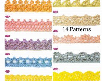 Gehäkelte trim Muster 14 Stück Spitze Kante sofortigen Download JPG
