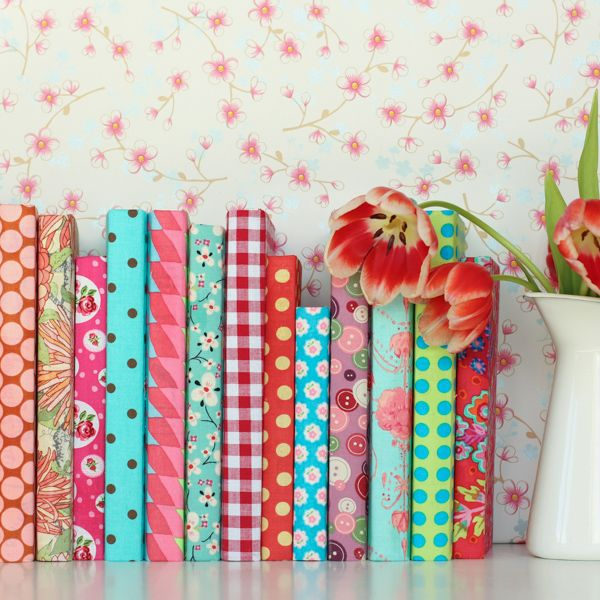 Fabric covered books.  My dream library.