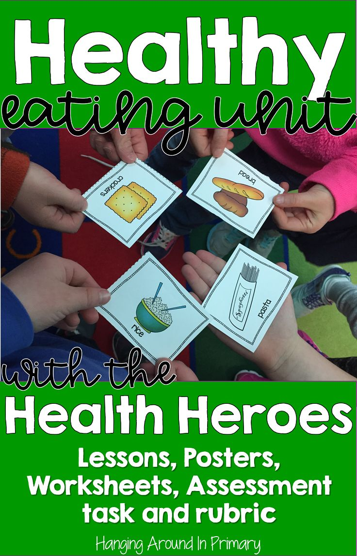 Teach your healthy eating unit with the Health Heroes.  This bundled resource for first and/or second grade has everything you need to cover the healthy eating curriculum:  detailed lesson plans, worksheets, posters, food cards, assessment task and a rubric. Aligns to MyPlate.    #healthyeatingunit #lessonplans #rubric #nutritionunit #myplate #firstgrade #secondgrade
