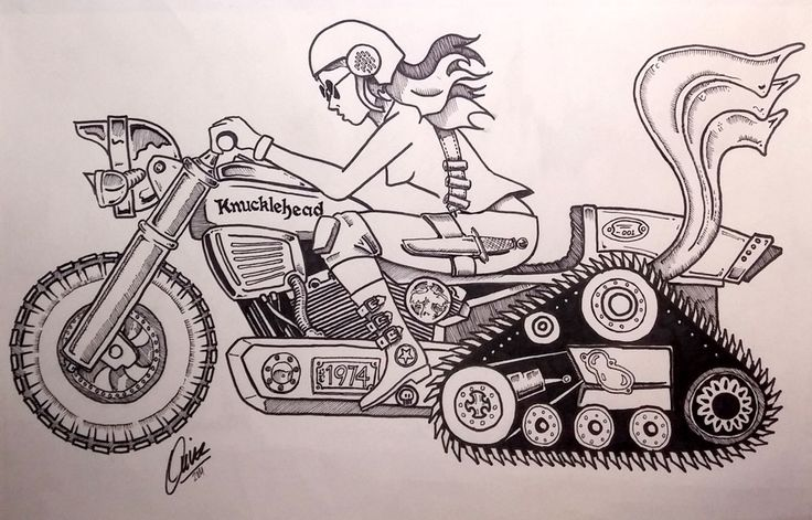 Knucklehead Motor Company drawing series bike and girl.