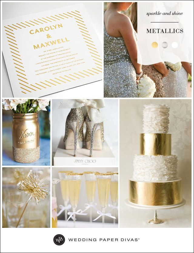 Add a touch of sparkle, or go all out glam with metallic hues. Set the tone for your event with a gold foil printed wedding invitation. Find more wedding inspiration boards at www.blog.weddingpaperdivas.com.