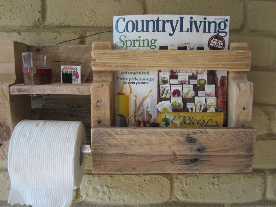 Bathroom organizer and toilet paper holder by WoodHound on Etsy, $25.00
