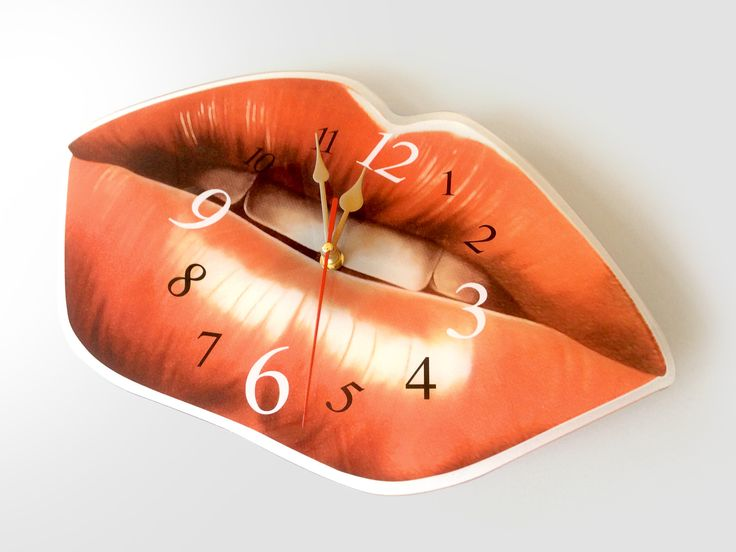 Watch with lips motif in plexiglass or wood.