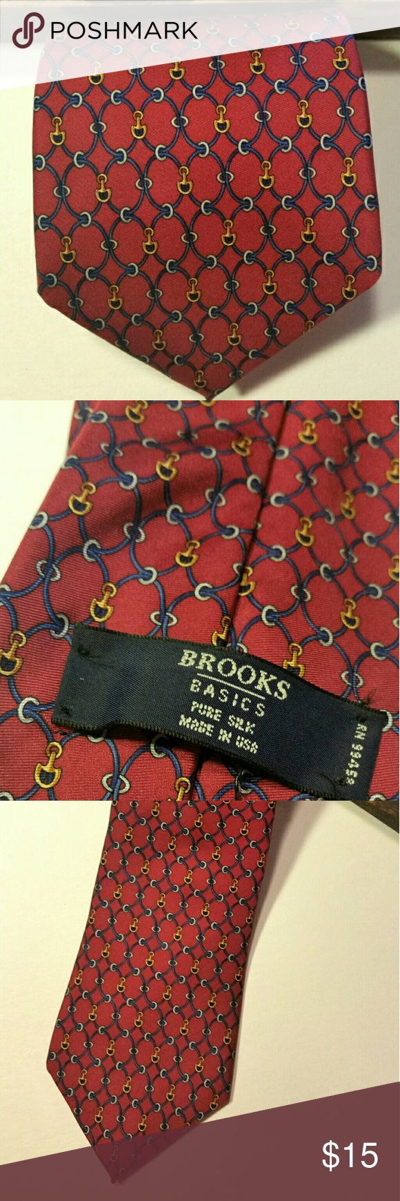 Brooks Brothers Tie, 100% silk Necktie, Brooks Brothers, 100% silk.  Colors: red, blue, gold.  Has Brooks Brothers horsebit contained in the pattern.  Husband has a serious tie addiction - trying to clean out the closet!  EUC. Brooks Brothers Accessories Ties