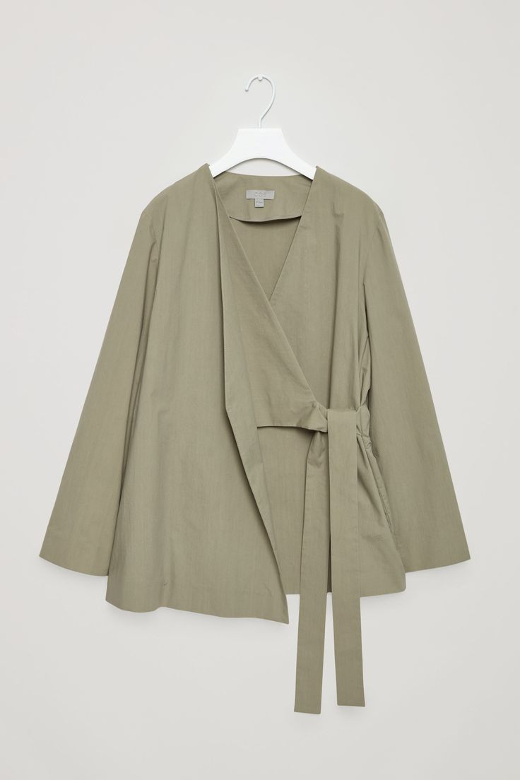 COS image 4 of Layered wrap-over blazer in Sage Green