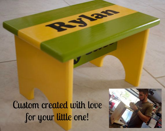 Child\u0027s Personalized Custom Step Stool by CasualTeeCo on Etsy $50.00 : wooden step stool for kids personalized - islam-shia.org