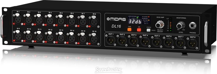 Midas DL16 | Sweetwater.com 16-in/8-out Stage Box with 16 Midas Microphone Preamplifiers, Ultranet Ethernet Compatibility, and ADAT Digital Connectivity.  This 16-in/8-out AES50 networkable device makes adding a digital snake to your rig as easy as running a single Cat 5 cable, and you can daisy chain up to three DL16s together, so you can comfortably set 48 remote-controllable Midas Pro preamps onstage with plenty of returns to spare for monitor mixing.   $1,200