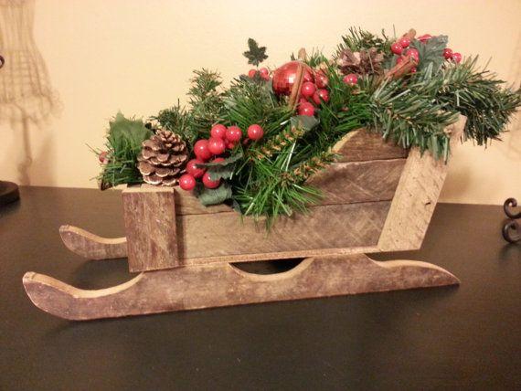 Rustic Wooden Sleigh Barnwood Sleigh Christmas Decor