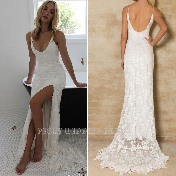 Find More Wedding Dresses Information about Boho Sexy Lace Wedding Dress 2016 Low Back V Neck Lace Appliques Spaghetti Straps High Slit Bohemian Beach Wedding Dresses PB38,High Quality dress shops in new york,China dress motif Suppliers, Cheap dresses dress up from  Peony Wedding Dress on Aliexpress.com