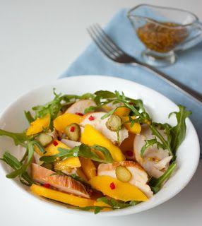 Салат из курицы с манго и рукколой