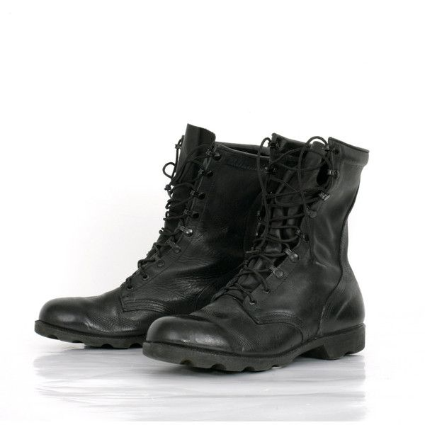 Vintage Black Combat Jump Boots in Leather (1.005 ARS) ❤ liked on Polyvore featuring shoes, boots, men, combat boots, mid-calf boots, black army boots, army combat boots, black boots and black military boots