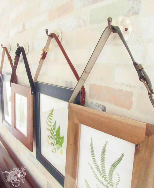 Industrial style frames from Pocket of Posies. I love this creative way to hand prints from old belts!