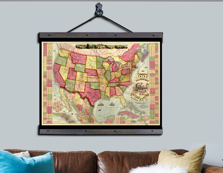 Best  Pull Down Map Ideas On Pinterest Vintage Map Decor - Us vintage map with dowel