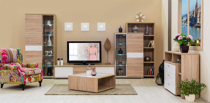Bling - modern nappali világos sonoma tölgy - fényes fehér színben.