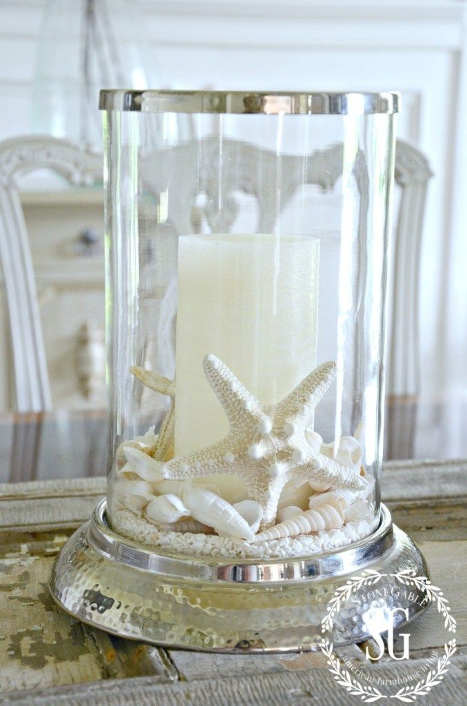 10 MINUTE SUMMER DECORATING- shells on the dining room table