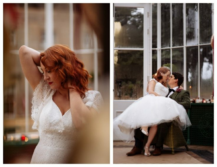 Bride wearing vintage style dresses from Lace & Co. - Elodie by Charlotte Balbier and Claire by House of Mooshki